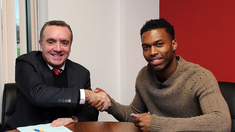 Deal done: Ian Ayre and Daniel Sturridge shake on it