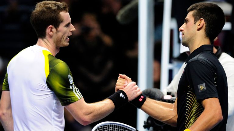Murray & Djokovic after their last meeting at the O2 Arena, London, in November