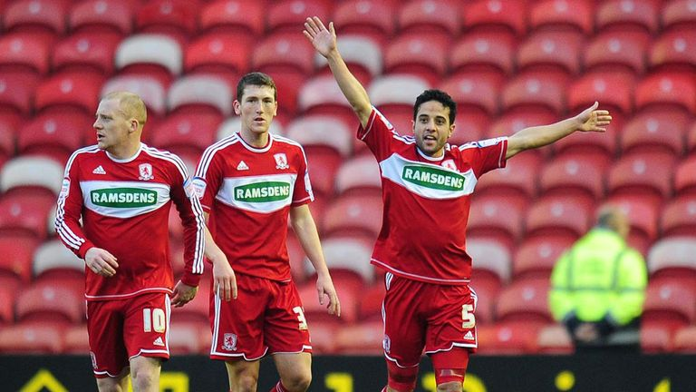 Merouane Zemmama: Celebrates his opener at The Riverside