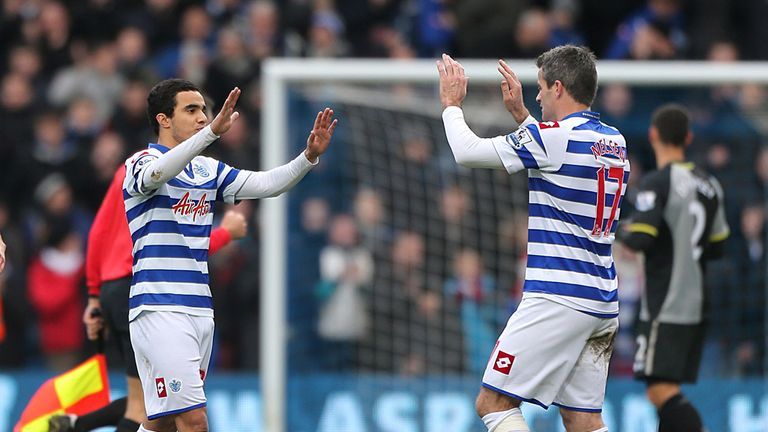 Job done: Fabio da Silva and Ryan Nelsen celebrate point earned