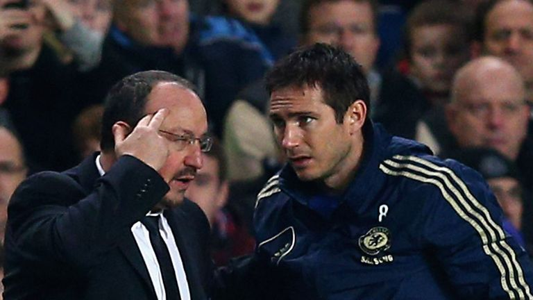 Benitez and Lampard: The England midfidler has yet to be offered a contract extension at Chelsea