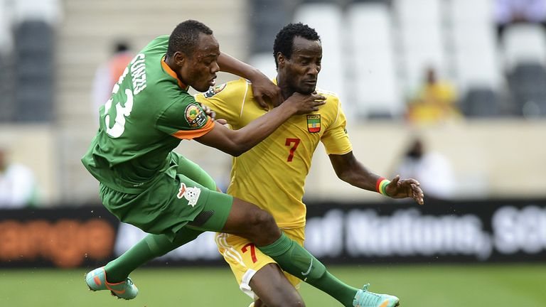 Stoppila Sunzu: Zambia defender clashes with Ethiopia's Said Ahmed