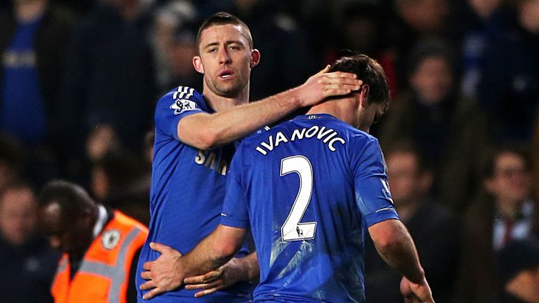 Ivanovic: the Serb is consoled by Gary Cahill after his errors against Swansea