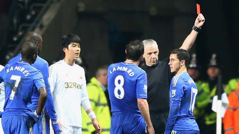 Eden Hazard: Is dismissed by referee Chris Foy at Swansea
