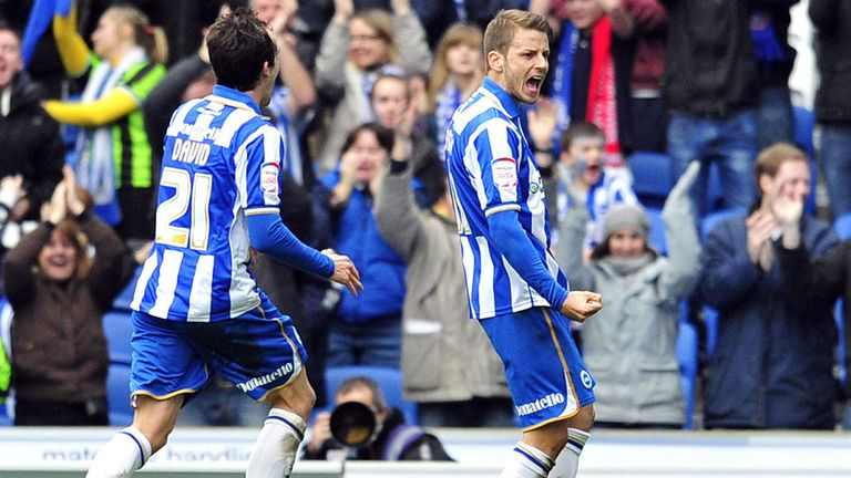 Brighton celebrate after scoring against Newcastle