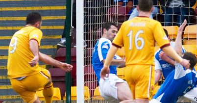 Michael Higdon: Scores his second goal against St Johnstone