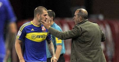 James Collins: Celebrates with boss Paolo Di Canio