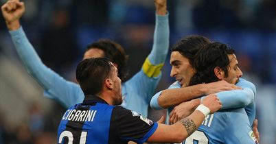 Lazio: Celebrate Sergio Floccari goal against Atalanta