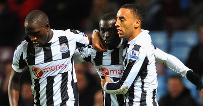 Papiss Cisse: The Senegal striker, centre, gave Newcastle the lead