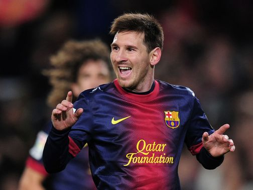 Messi celebrates his first goal of 2013