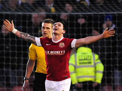 Chris Dagnall celebrates his goal for Barnsley