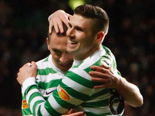 Celtic's two-goal Gary Hooper celebrates