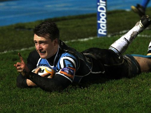 Stuart Hogg celebrates for Glasgow