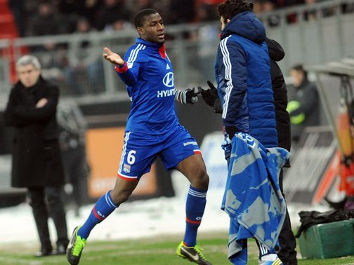 Gueida Fofana celebrates his opener for Lyon