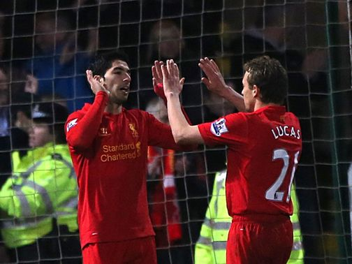 Luis Suarez celebrates his goal for Liverpool