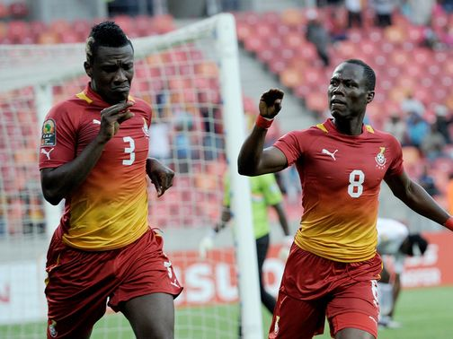 Agyemang Badu and Asamoah Gyan lead the celebrations