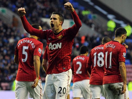 Robin van Persie: Double strike at Wigan