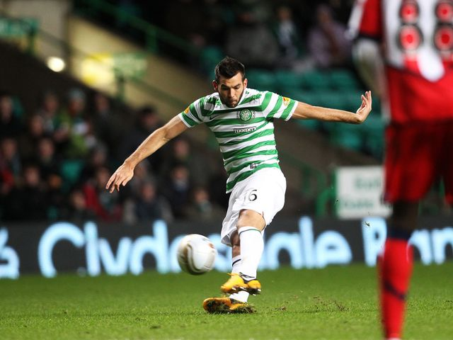 Joe Ledley scores Celtic's first goal of the night