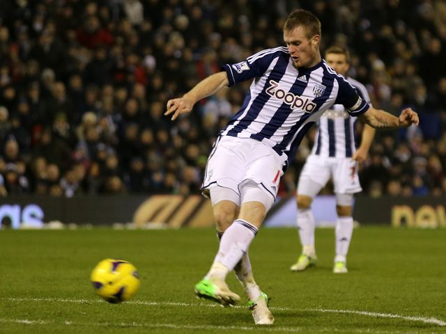 Chris Brunt pulls a goal back for West Brom