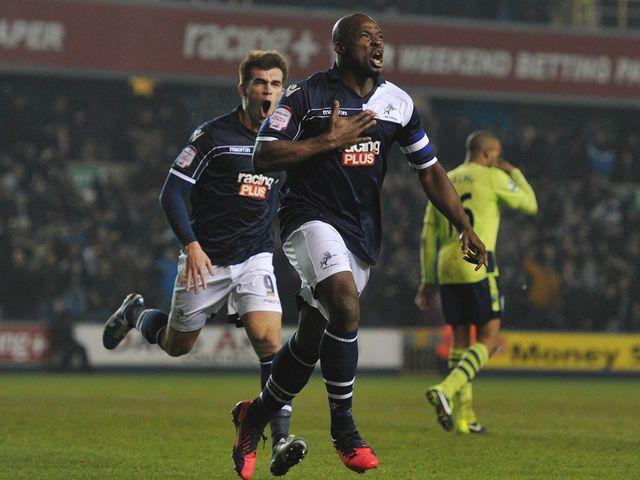 Danny Shittu celebrates Millwall's leveller