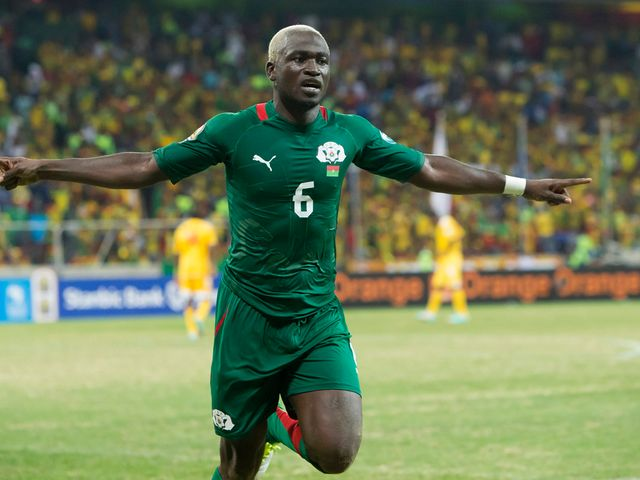 Djakaridja Kone celebrates his goal for Burkina Faso