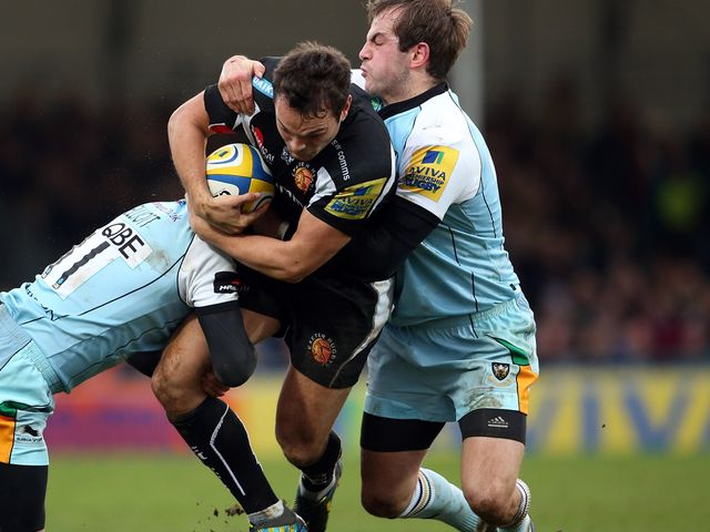 Phil Dollman leads an Exeter attack