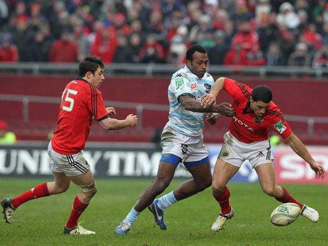 A battle for the ball at at Thomond Park.