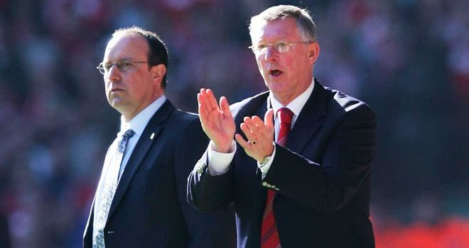Rafael Benitez and Sir Alex Ferguson: First clashed during Benitez's time in charge of Liverpool