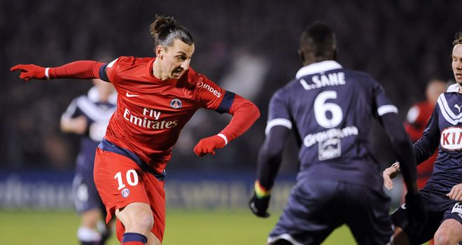 Zlatan Ibrahimovic in action for PSG.