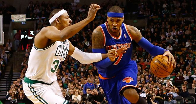 Carmelo Anthony (R): Led the Knicks to victory in Boston