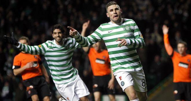Gary Hooper: Celebrates scoring for Celtic against Dundee United