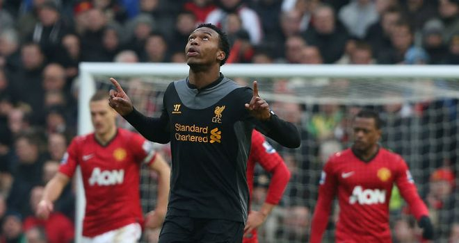 Daniel Sturridge celebrates after pulling a goal back for Liverpool