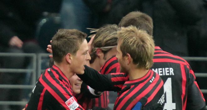 Eintracht Frankfurt celebrate during the victory
