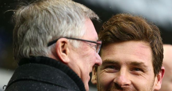 Sir Alex Ferguson and Andre Villas-Boas share a joke before the game