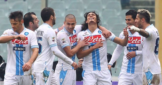 Edinson Cavani: Celebrates finding the net