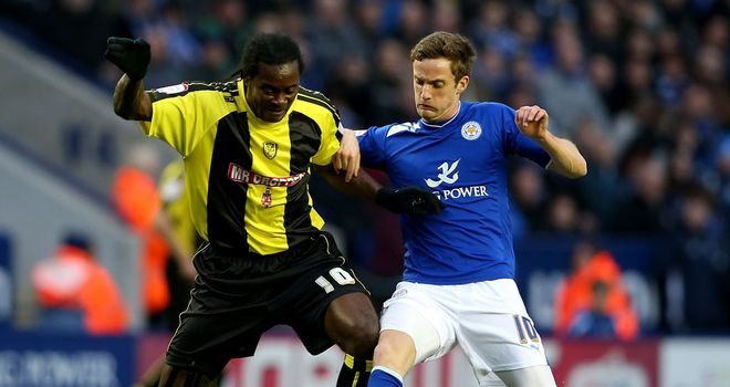 Calvin Zola of Burton battling with City's Andy King