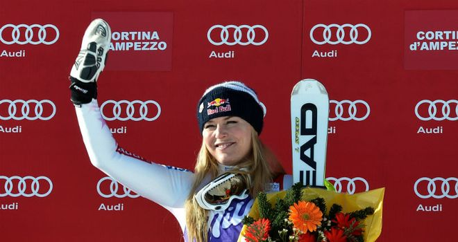 Lindsey Vonn: Celebrates her victory in the downhill at Cortina D'Ampezzo in Italy