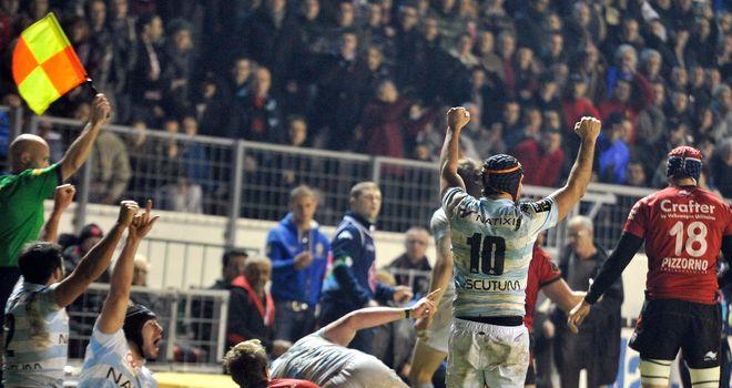 Racing Metro celebrate their surprise win at Stade Felix Mayol