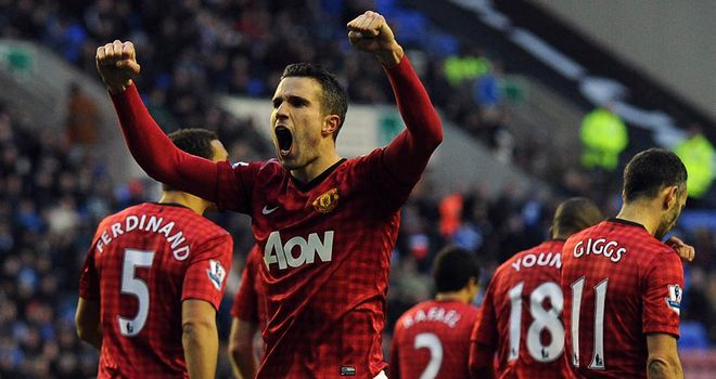 Robin van Persie: Manchester United striker hails his team-mates as 'champions'