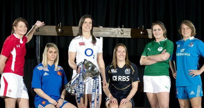 Women's Six Nations captains (from L-R) Rachel Taylor, Marie-Alice Yahe, Sarah Hunter, Susie Brown, Fiona Coghlan, Silvia Gaudino