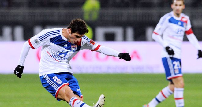 Yoann Gourcuff has a shot at goal for Lyon