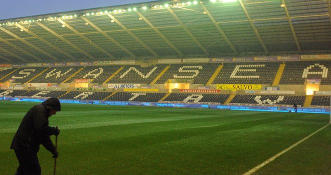 Liberty Stadium: Pitch cleared of fresh snowfall.