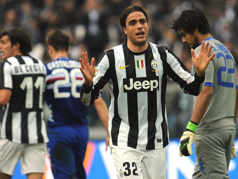 Alessandro Matri reacts during Juventus' defeat to Sampdoria