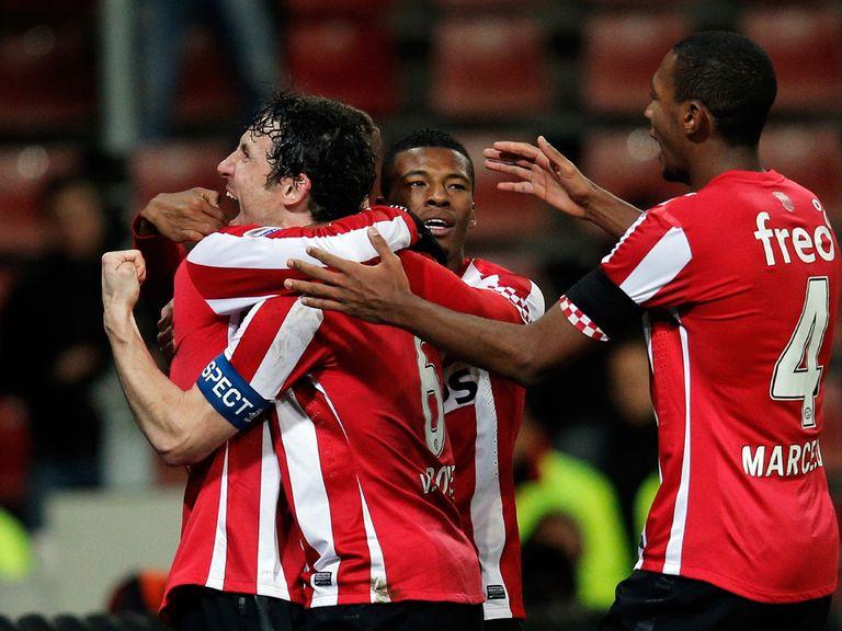 Mark van Bommel celebrates for PSV Eindhoven