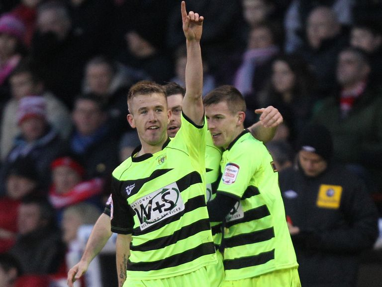 Paddy Madden celebrates scoring for Yeovil