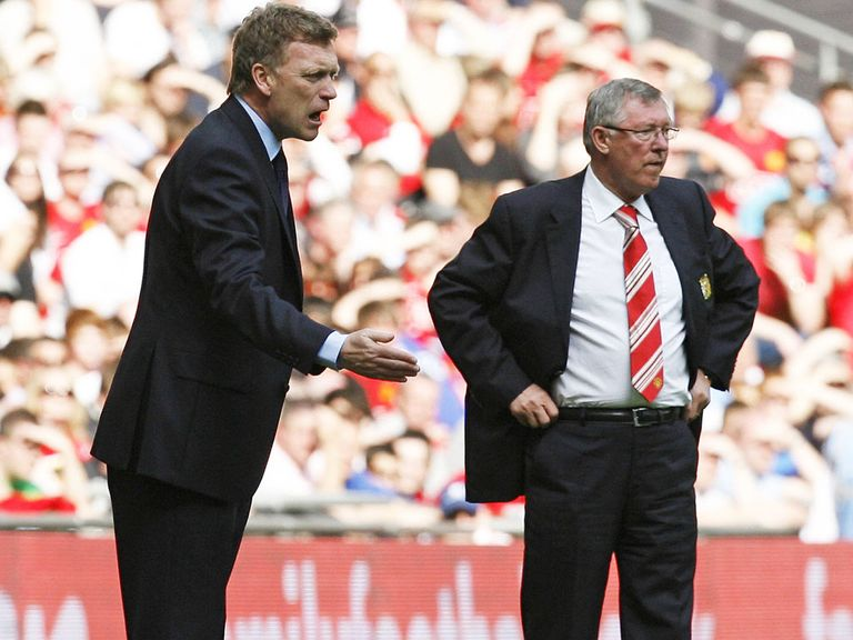 Ferguson (right) says Everton will face a major problem when Moyes (left) leaves