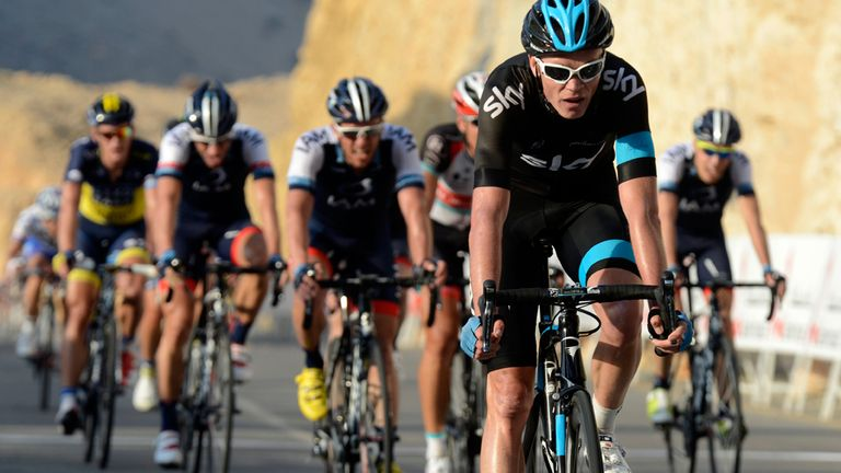 Chris Froome crosses the finish line at the Wadi Dayqah Dam