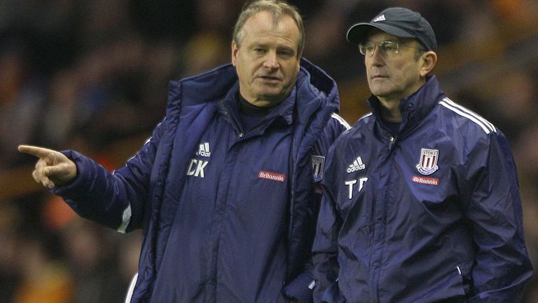 Dave Kemp (L) and Tony Pulis oversaw a vital 2-0 win at QPR last time out