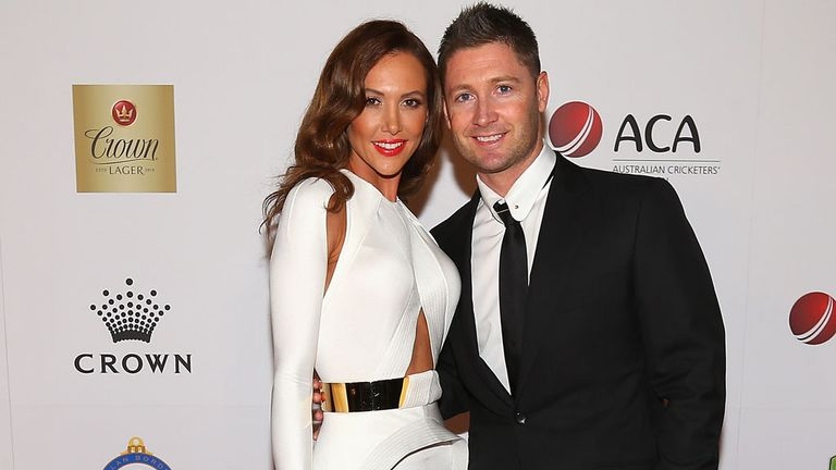 Michael Clarke with wife Kyly after being presented with his awards in Melbourne.