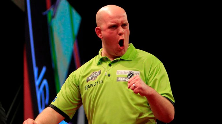 Michael van Gerwen: Two big wins on the night (pic Lawrence Lustig/PDC)